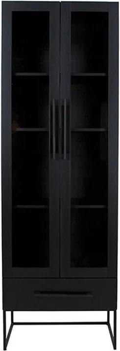 Čierna vitrína Canett Klint, výška 205 cm