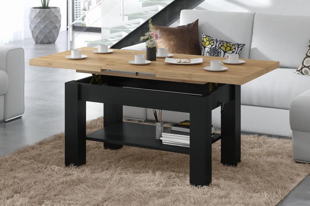 ASTORIA zlatý dub / čierny, konferenčný stolík, rozkladací, zdvíhací