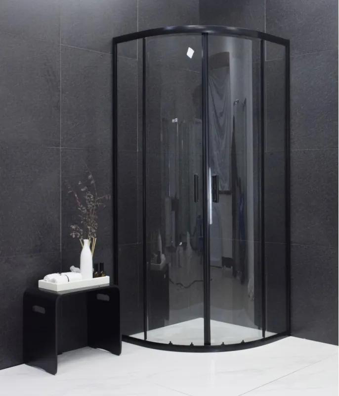 MEXEN RIO - Štvrťkruhový sprchovací kút 90x90 cm, čierna, 863-090-090-70-00