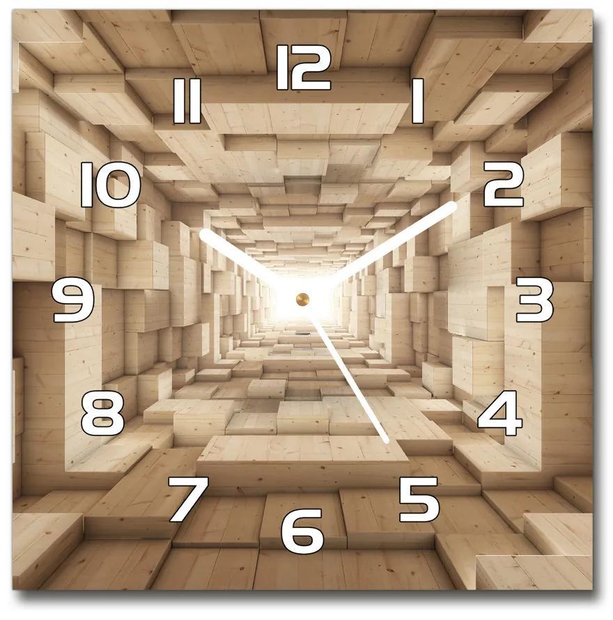 Sklenené hodiny štvorec Drevené tunel pl_zsk_30x30_f_33419074