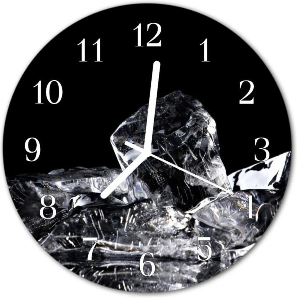 Skleněné hodiny kulaté Kostky ledu