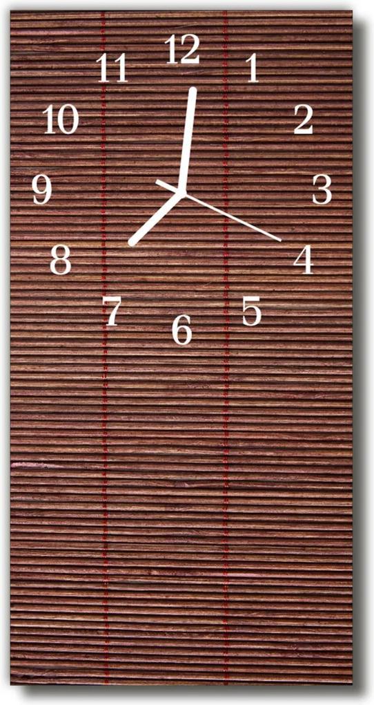 Nástěnné hodiny vertikální Bambus slepý s hnědou