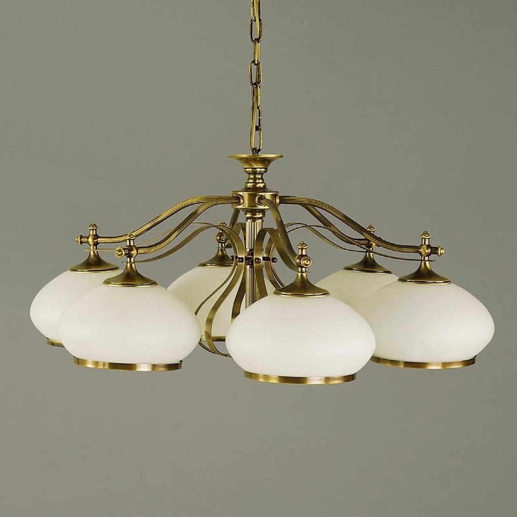 Závesná lampa Empira 6-pl. patina