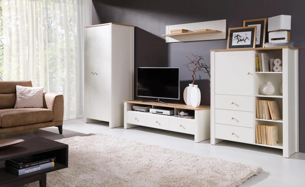 Moderný bytový nábytok Bremen zostava A, dub zlatý / krém