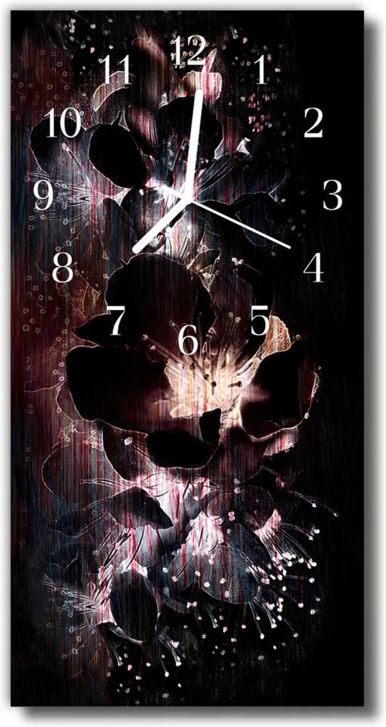 Skleněné hodiny vertikální Květy, černé květy