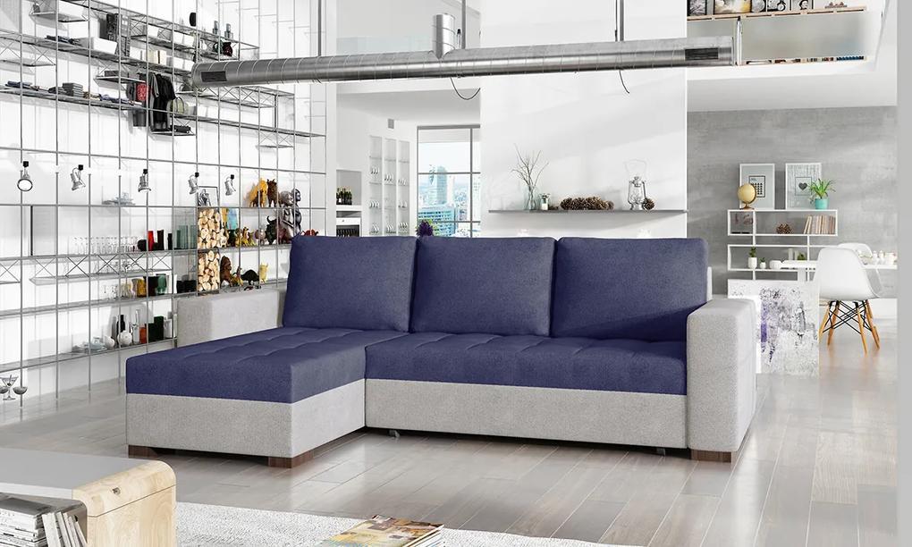 NABBI Novara L/P rohová sedačka s rozkladom a úložným priestorom modrá / svetlosivá
