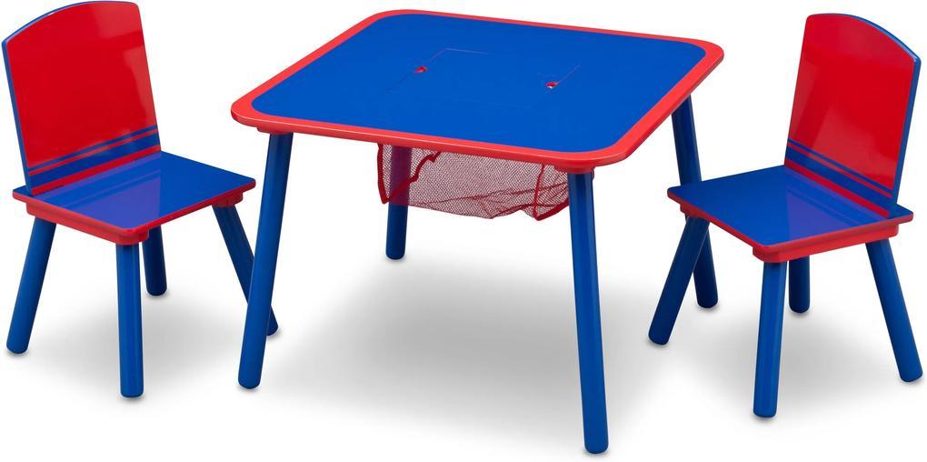 MAXMAX Detský stôl s stoličkami modro-červený 60x60x43