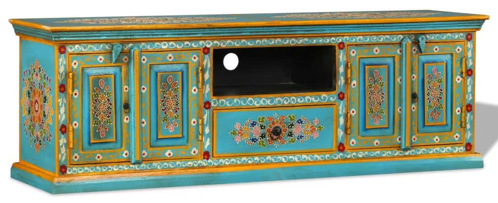 vidaXL Modrý TV stolík z mangového dreva, ručne maľovaný
