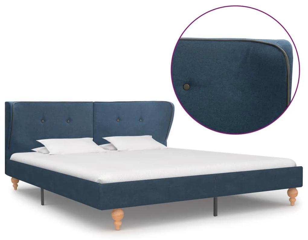 vidaXL Rám postele modrý látkový 160x200 cm