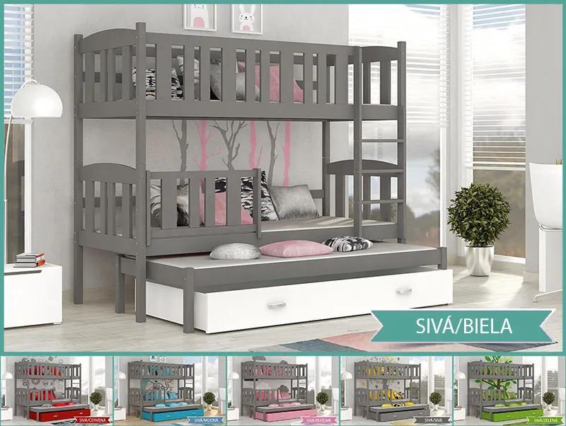 Jakub 3 MDF sivá 184X80 - poschodová posteľ s výsuvnou prístelkou