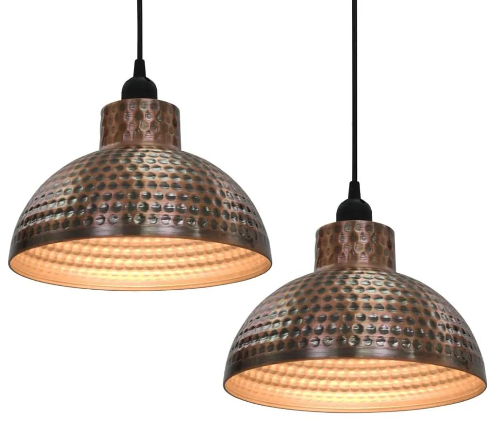 vidaXL Stropné lampy s polkruhovými tienidlami medenej farby  2 ks