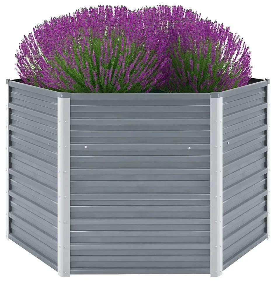 vidaXL Záhradný kvetináč, pozinkovaná oceľ, 129x129x77 cm, sivý