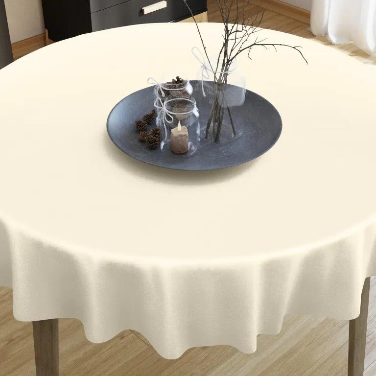 Goldea luxusný saténový lesklý obrus - vanilkový - guľatý Ø 170 cm