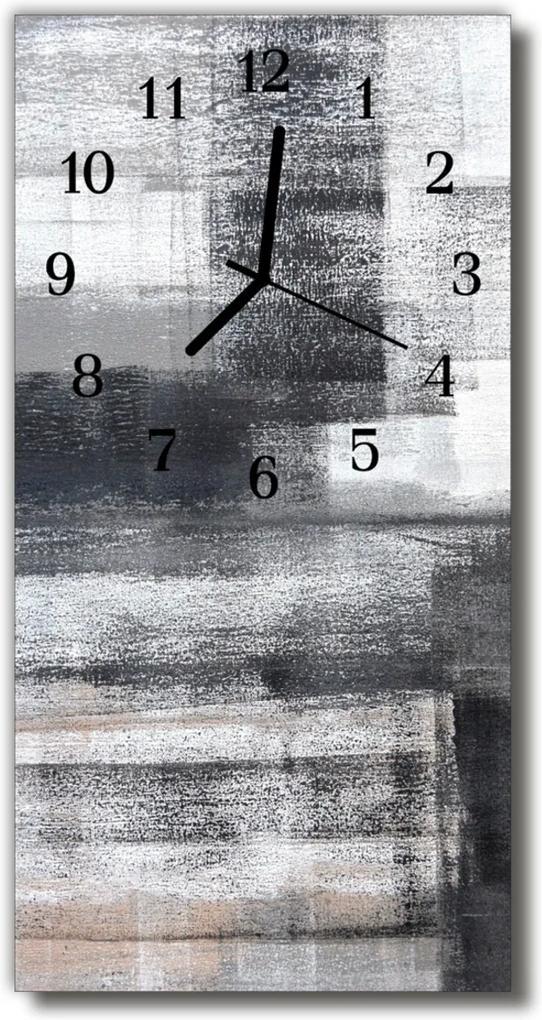 Skleněné hodiny vertikální Malované nástěnné stříbro