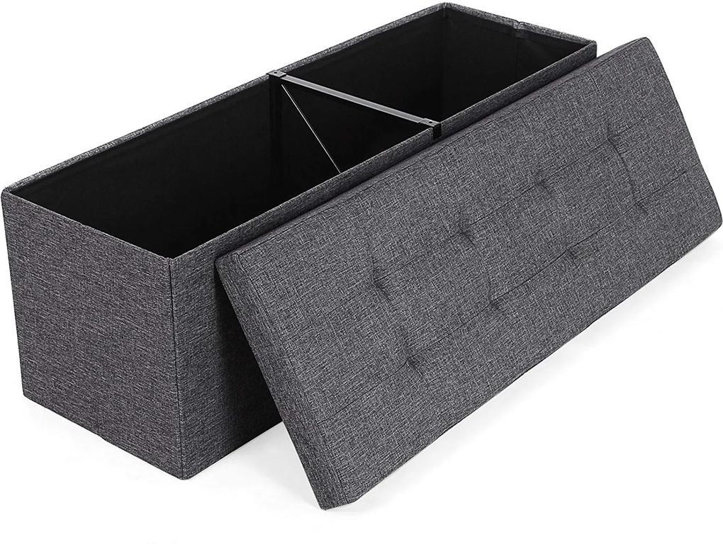 SONGMICS Úložný sedací box čalúnený skladací 110x38 cm tmavosivý