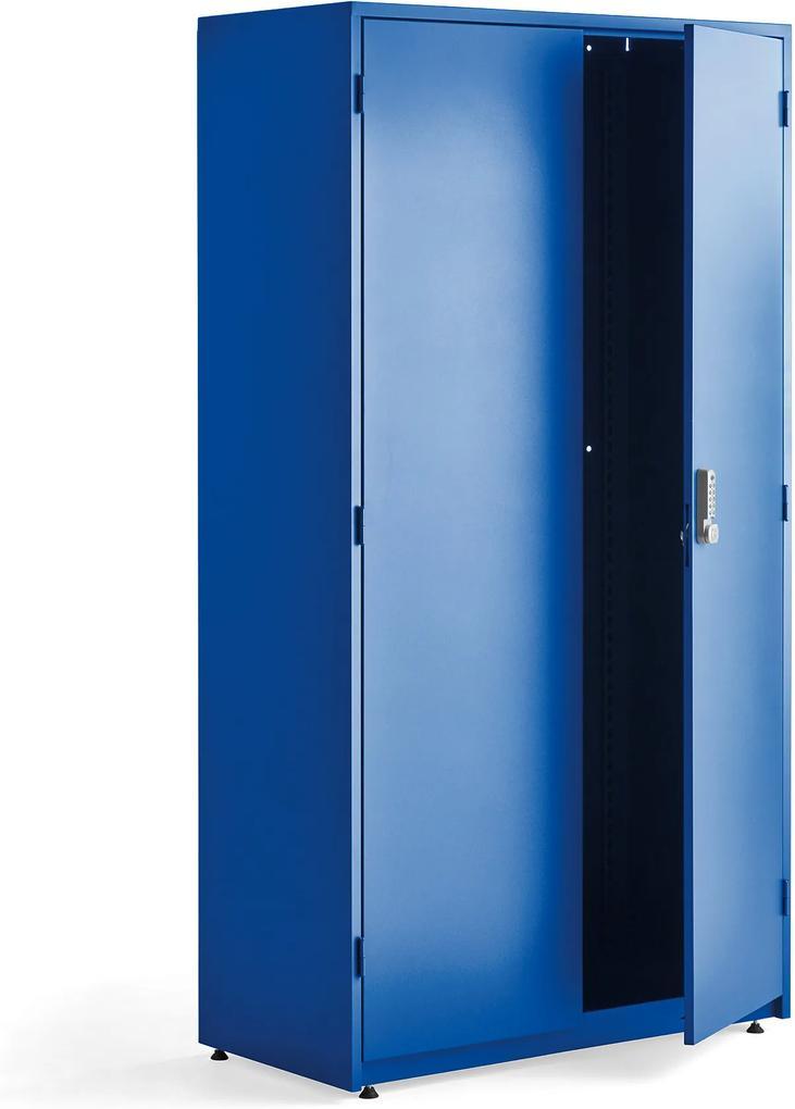 Kovová skriňa na náradie Supply s el. zámkom, 1900x1020x500 mm, modrá