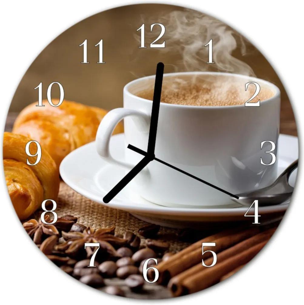 Nástenné skleněné hodiny Anýz Cinnamon