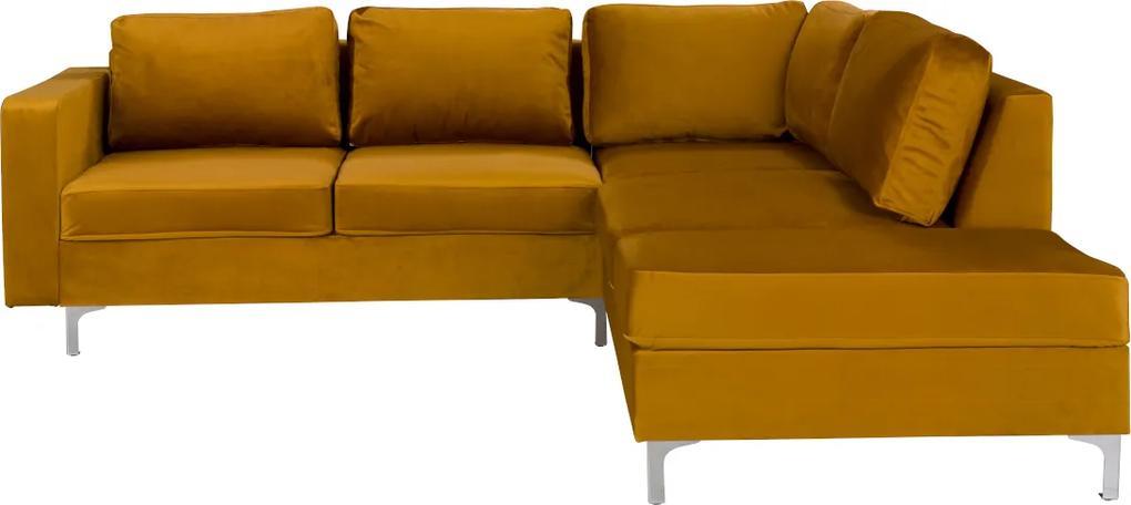 Expedo Rohová sedačka BLOOM VELVET, 235,5x70x212 cm, tiffany 8, pravý