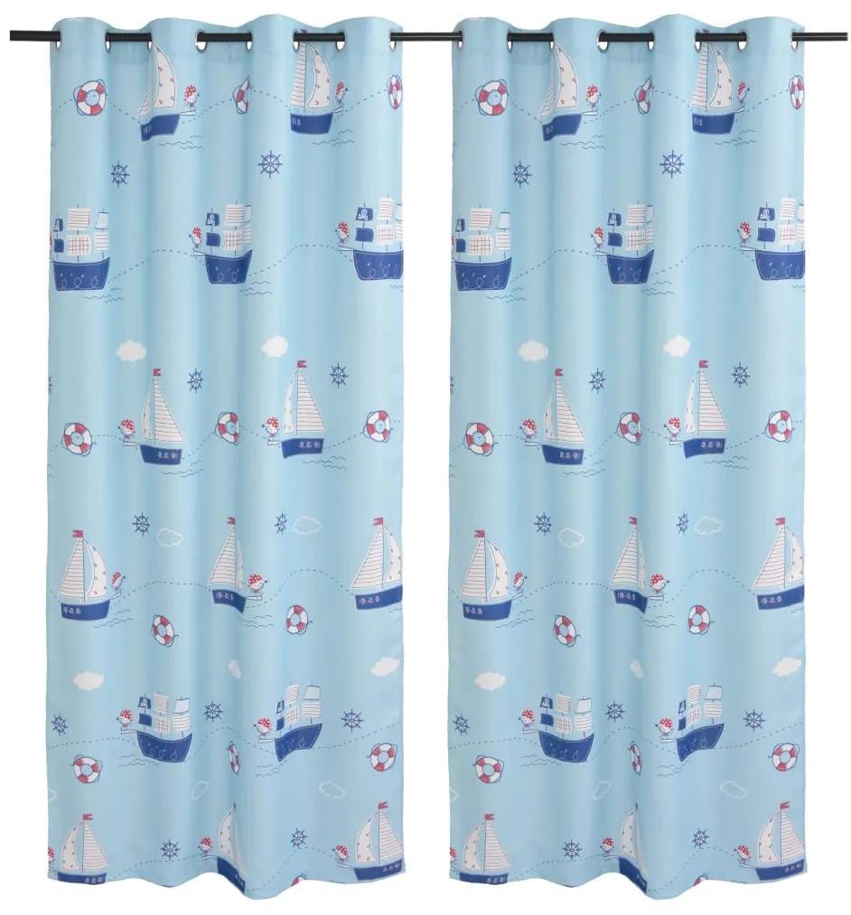 vidaXL Detské zatemňovacie závesy s potlačou 2 ks modré 140x240 cm