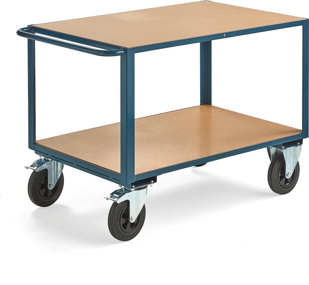 Dielenský vozík Sedan, s brzdami, 2 otočné kolieska, 1100x700 mm, nosnosť 600 kg