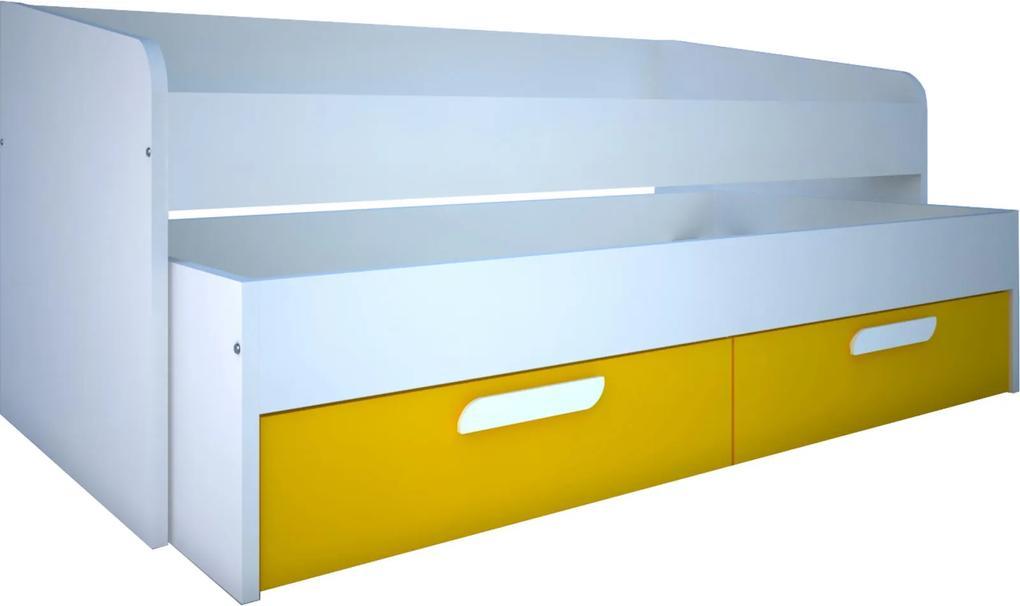 4253bae279d8 Detská posteľ s prístelkou B - žltá