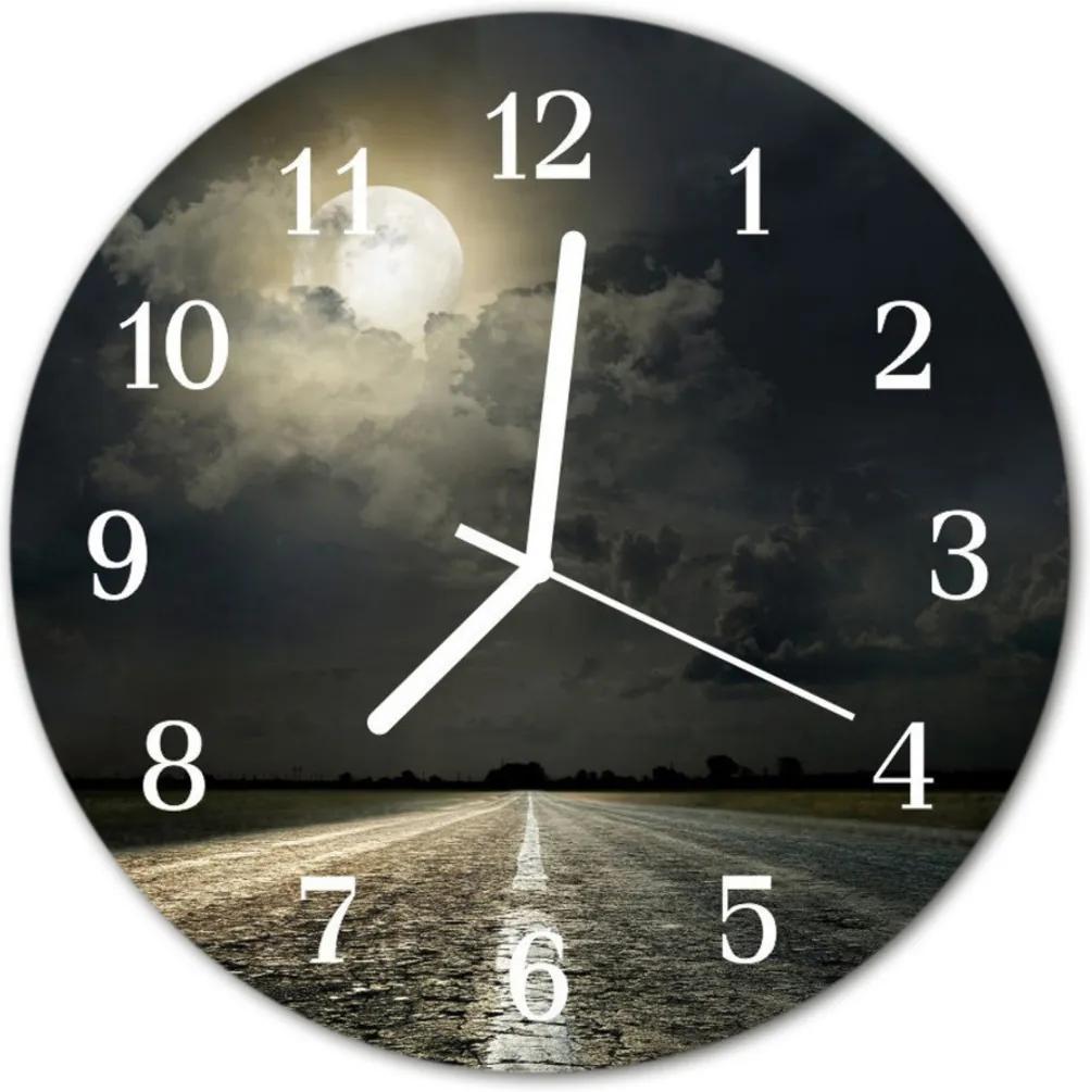 Nástenné skleněné hodiny Cesta měsíce
