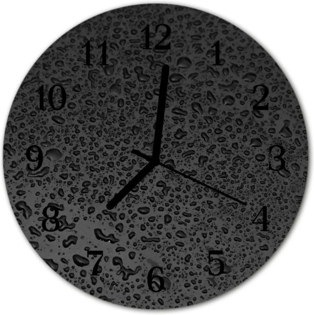 Skleněné hodiny kulaté Kapky vody