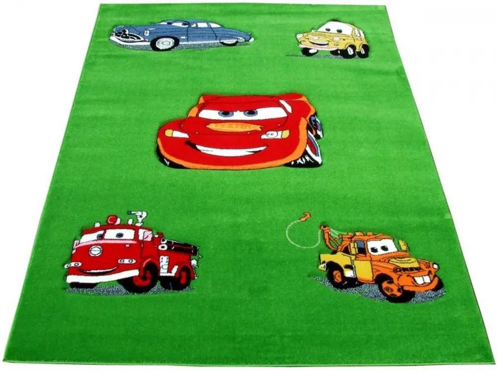 Detský kusový koberec CARS zelený, Velikosti 100x200cm