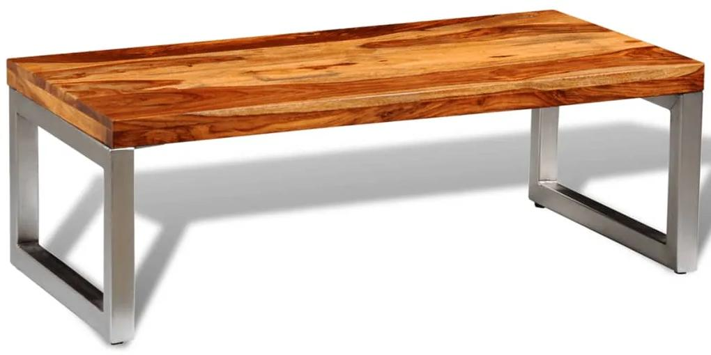 vidaXL Konferenčný stolík z dreveného masívu sheesham s oceľovými nohami