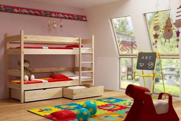 MAXMAX SKLADOM: Detská poschodová posteľ z MASÍVU 200x80cm bez šuplíku - PP002 200x80 NIE