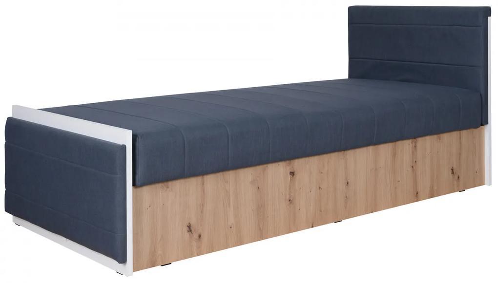 Šedá posteľ Nismo 90x200 cm
