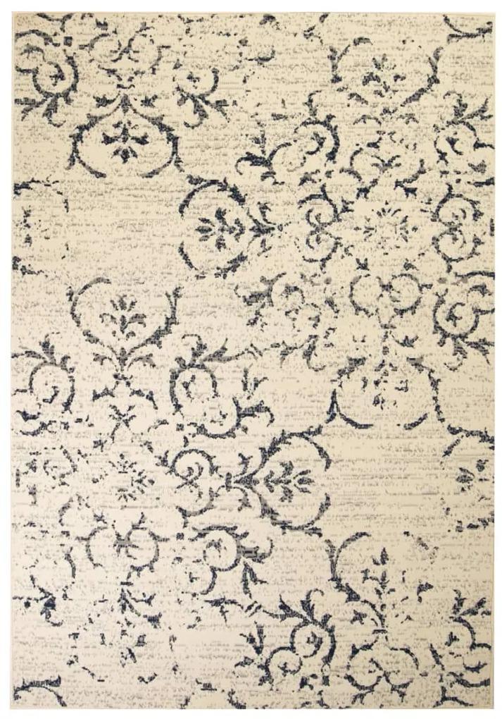 vidaXL Moderný koberec, kvetinový dizajn, 160x230 cm, béžovo-modrý