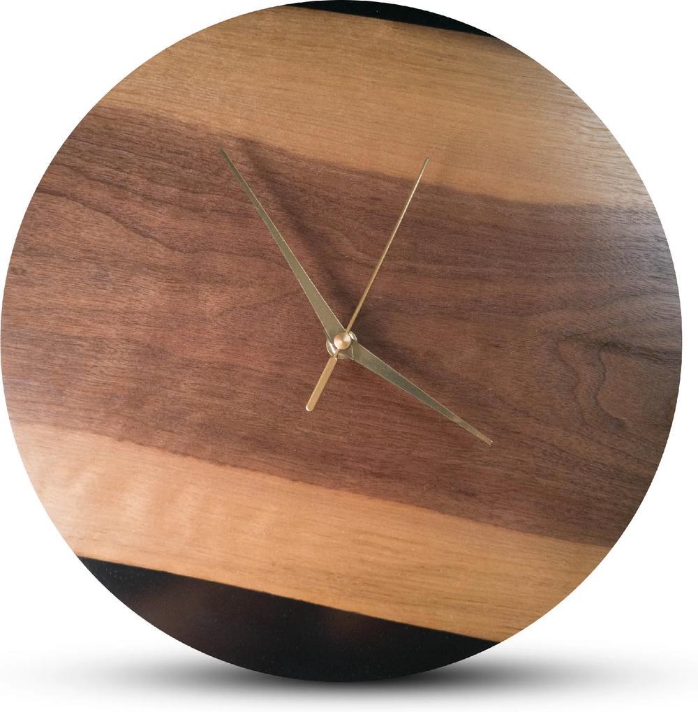 TIMMER wood decor Black Walnut- Živicové drevené hodiny