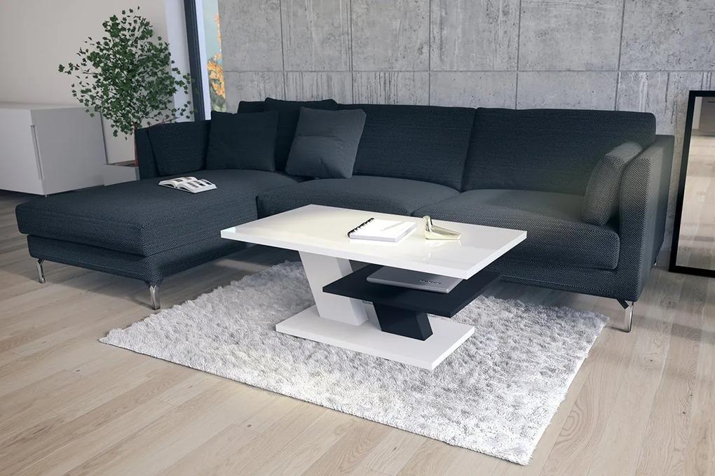 CLIFF biely lesk + čierny - konferenčný stolík, čiernobiely