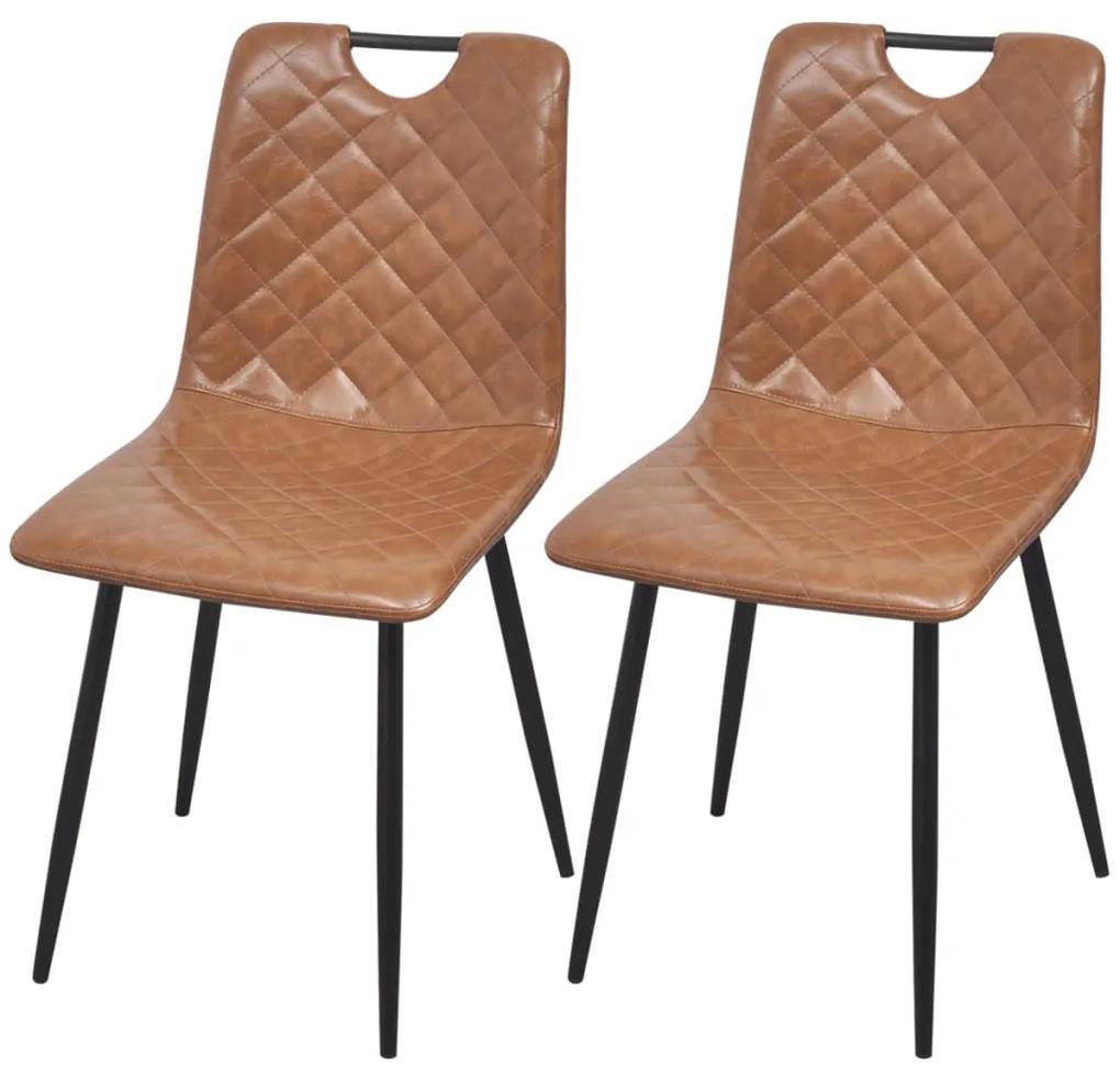 vidaXL Jedálenské stoličky 2 ks, svetlohnedé, umelá koža