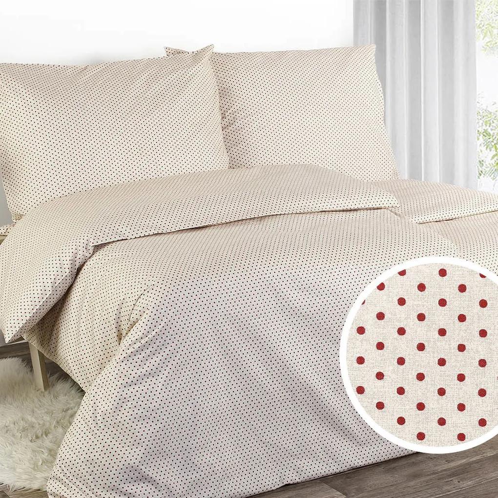 Goldea bavlnené posteľné obliečky - vzor 586 červené bodky 140 x 220 a 70 x 90 cm