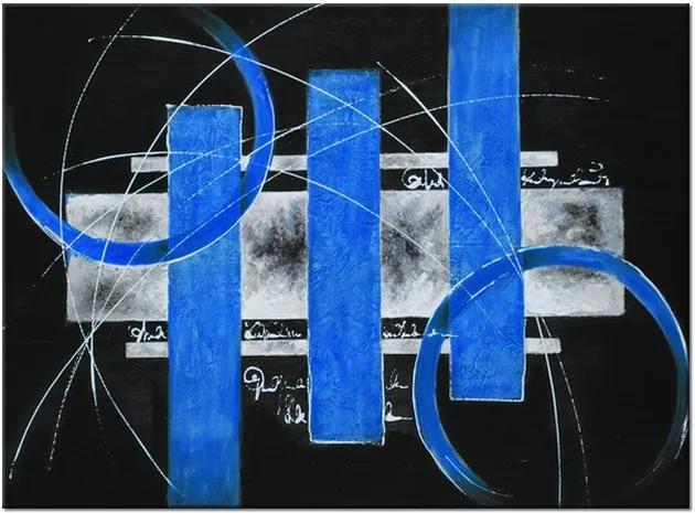 Ručne maľovaný obraz Modré línie 115x85cm RM2528A_1AS