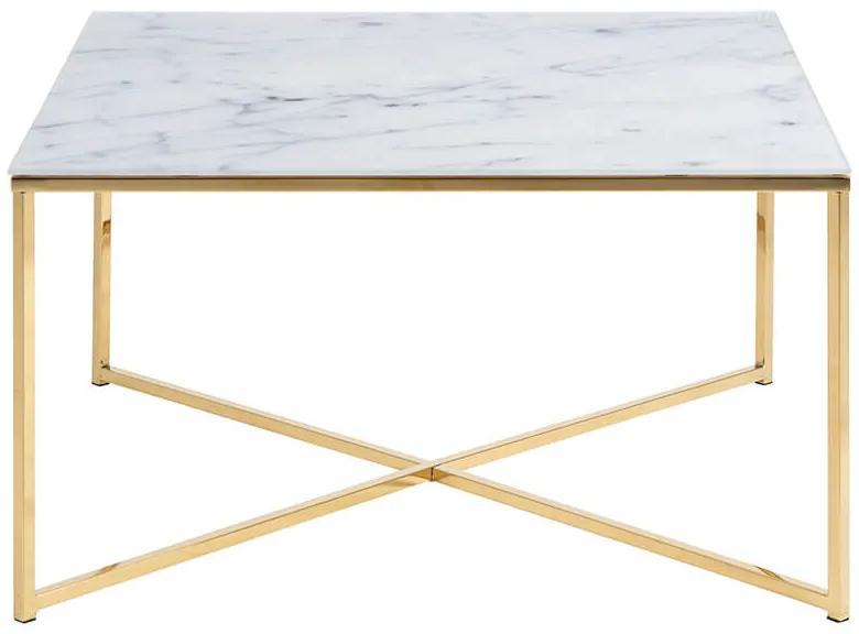Alisma konferenčný stolík 80x80 biela / zlatá