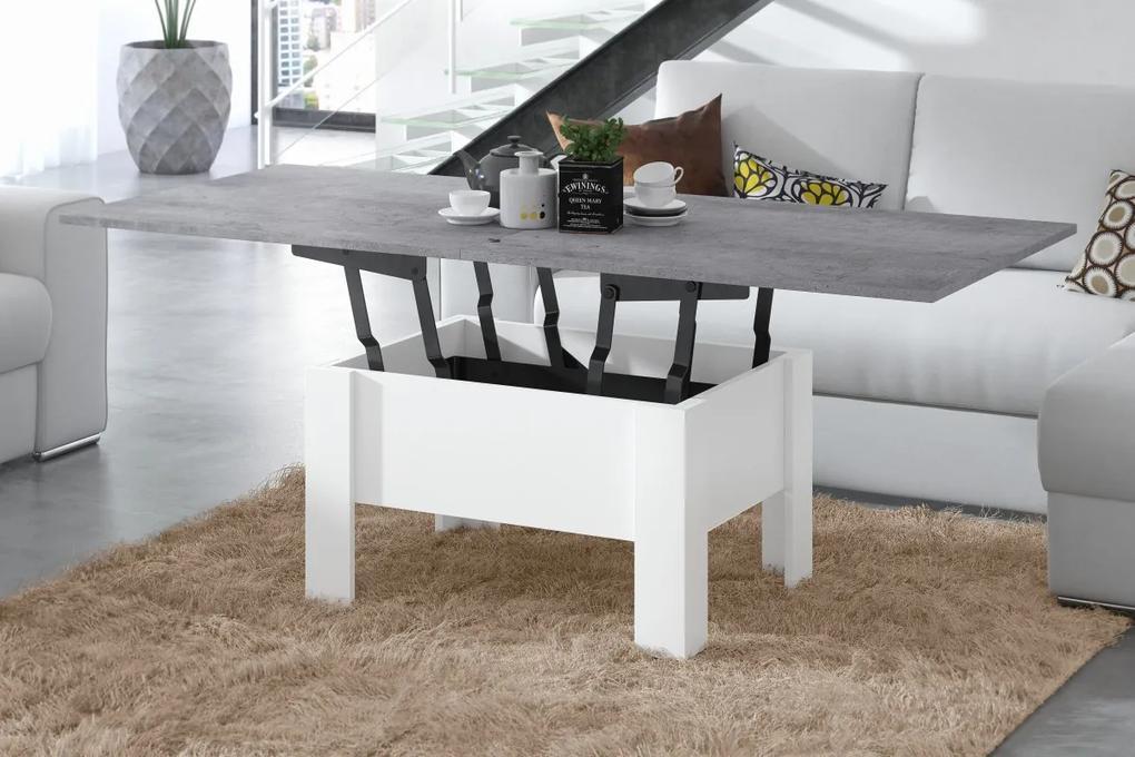 OSLO betón (šedá) / biela, rozkladacia, zdvíhací konferenčný stôl, stolík