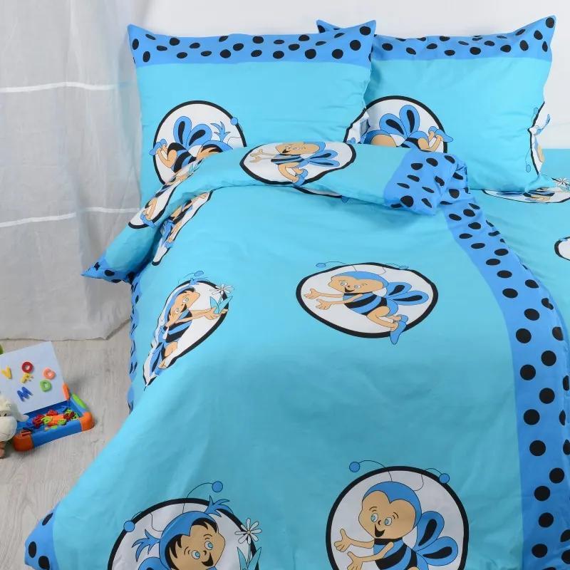 Obliečky bavlnené detské Včielky modré TiaHome 1x Vankúš 90x70cm, 1x Paplón 140x200cm