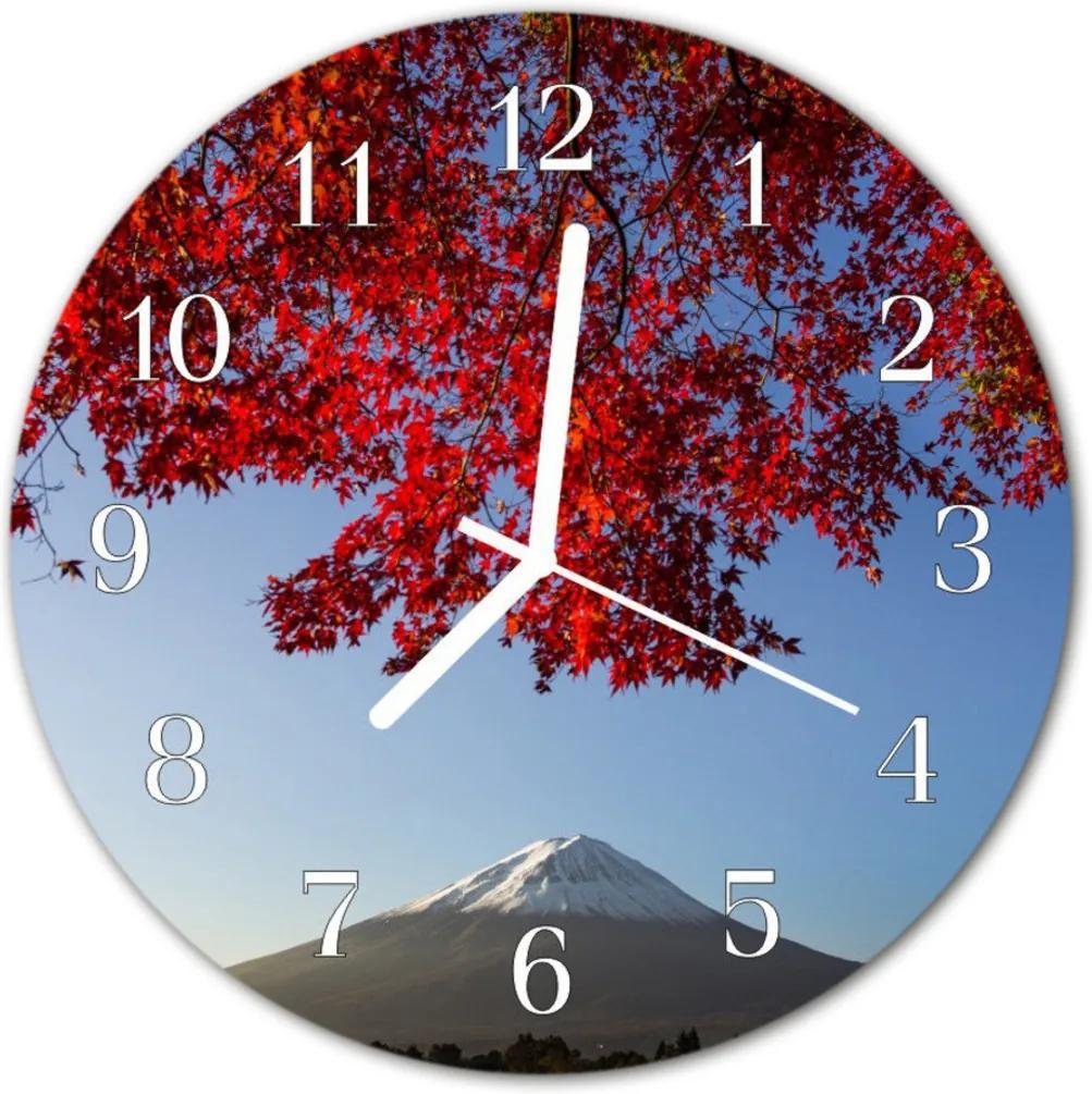 Nástenné skleněné hodiny Horské listy