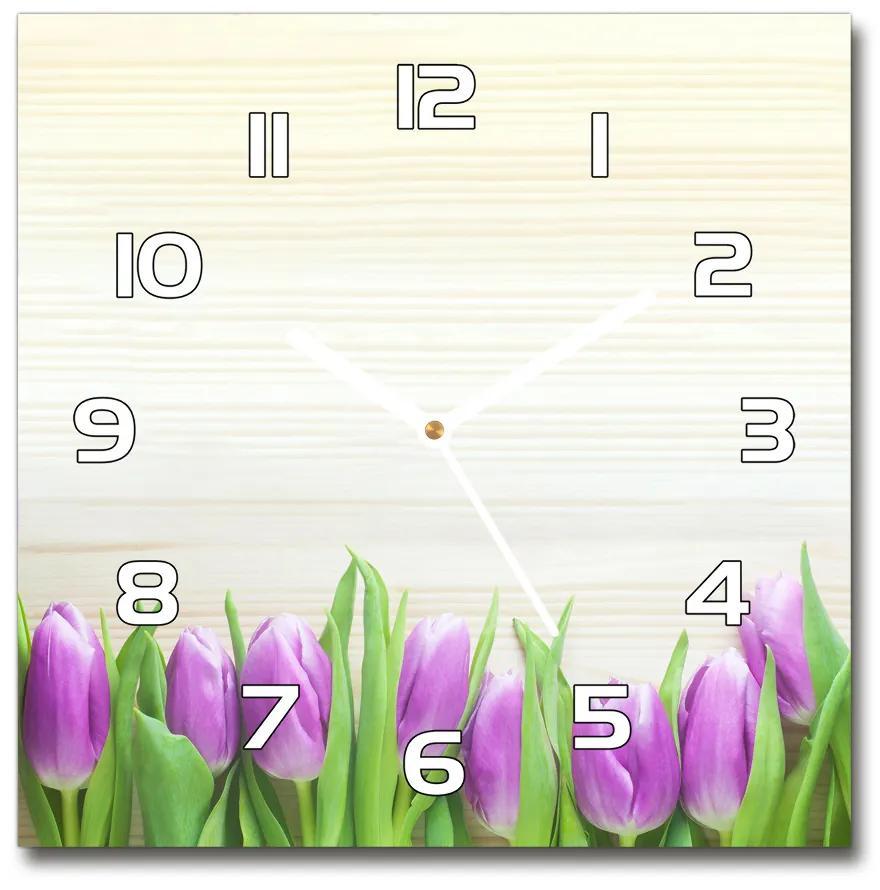 Sklenené hodiny štvorec Fialové tulipány pl_zsk_30x30_f_78755149