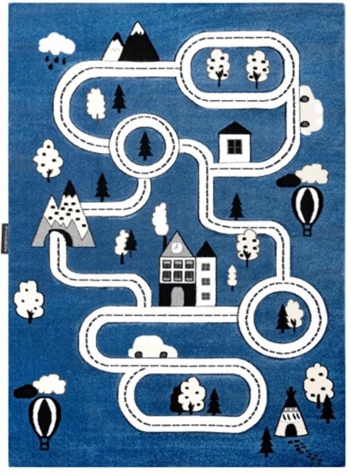 Detský kusový koberec Cesty v meste modrý, Velikosti 280x370cm