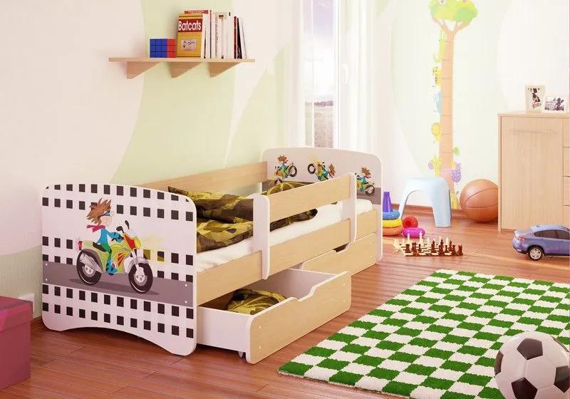 MAXMAX Detská posteľ MOTORKA funny 180x80 cm - sa zásuvkou 180x80 pre chlapca ÁNO