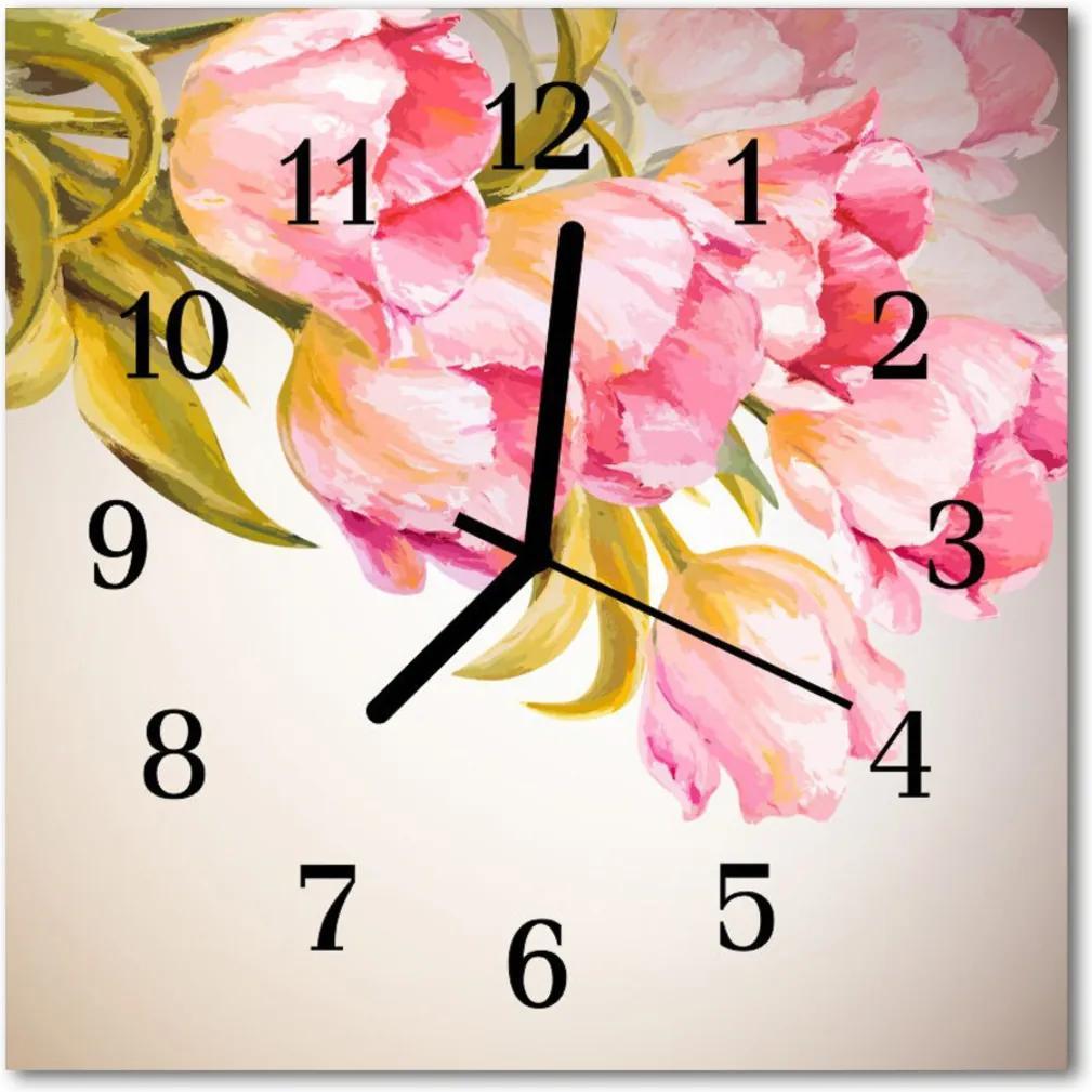 Nástenné skleněné hodiny akvarely