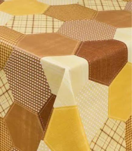 Obrus PVC geometrický hnedo-žltý metráž, návin 20 m x 140 cm, IMPOL TRADE 5733330