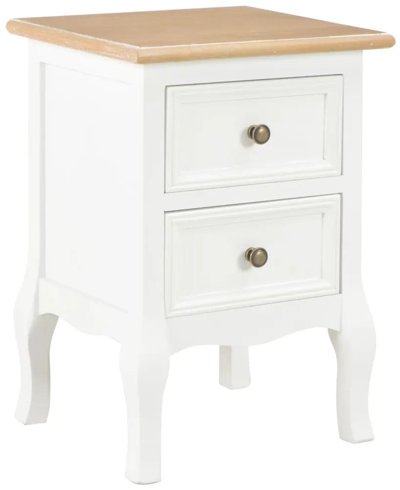 vidaXL Nočný stolík, biely 35x30x49 cm, MDF