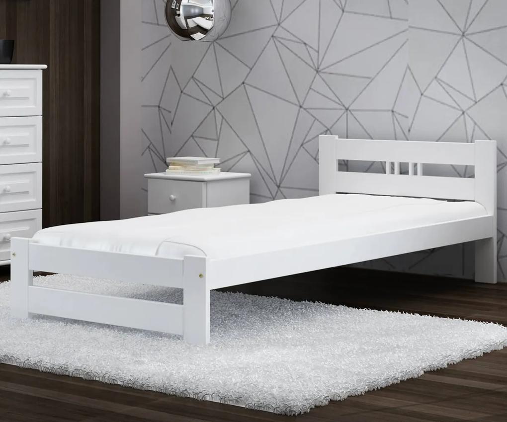 AMI nábytok Postel borovice LUX VitBed 90x200cm masiv bílá