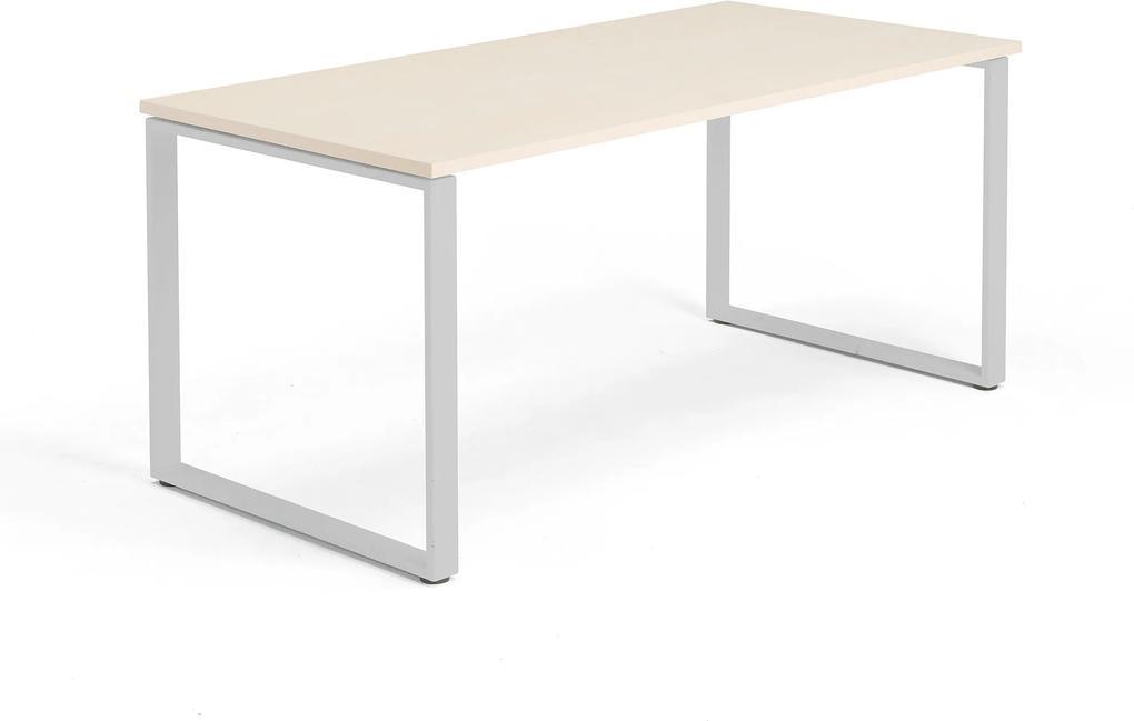 Kancelársky pracovný stôl Modulus, O-rám, 1600x800 mm, breza/strieborná