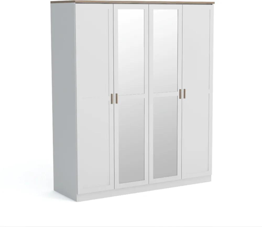 4-dverová skriňa, biela/dub wotan, ANICEA